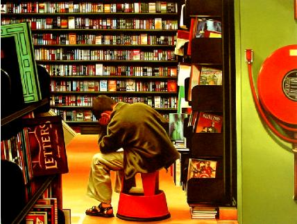 The Thinker- hyperrealism painting of boy reading in bookstore by Gerard Boersma